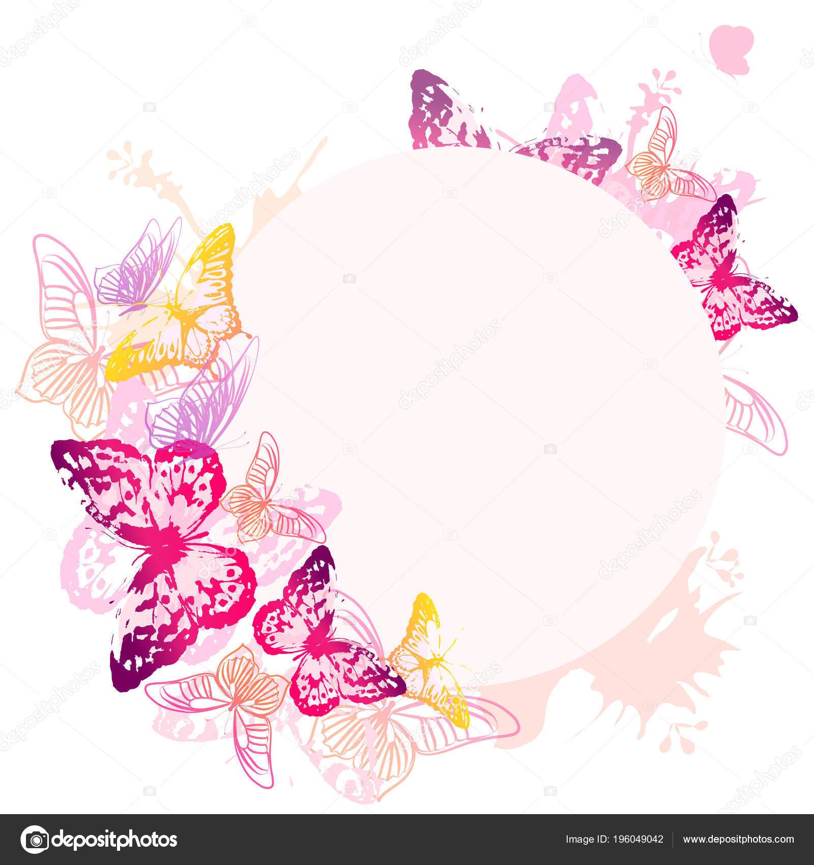 Tarjeta Invitación Boda Con Colección Hermosas Mariposas