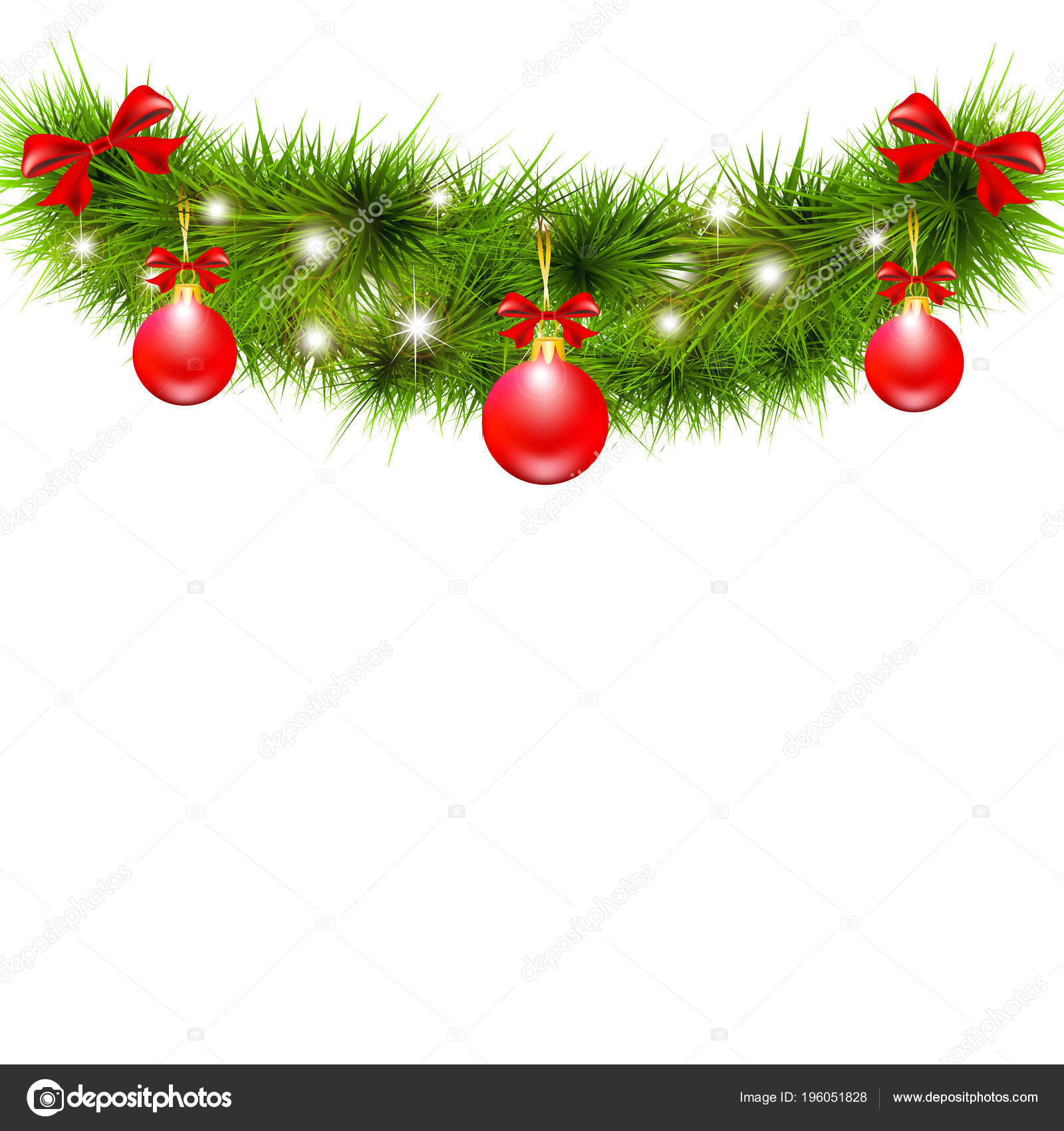 Christmas Tree Bows White.Christmas Tree Branch Red Balls Bows Isolated White