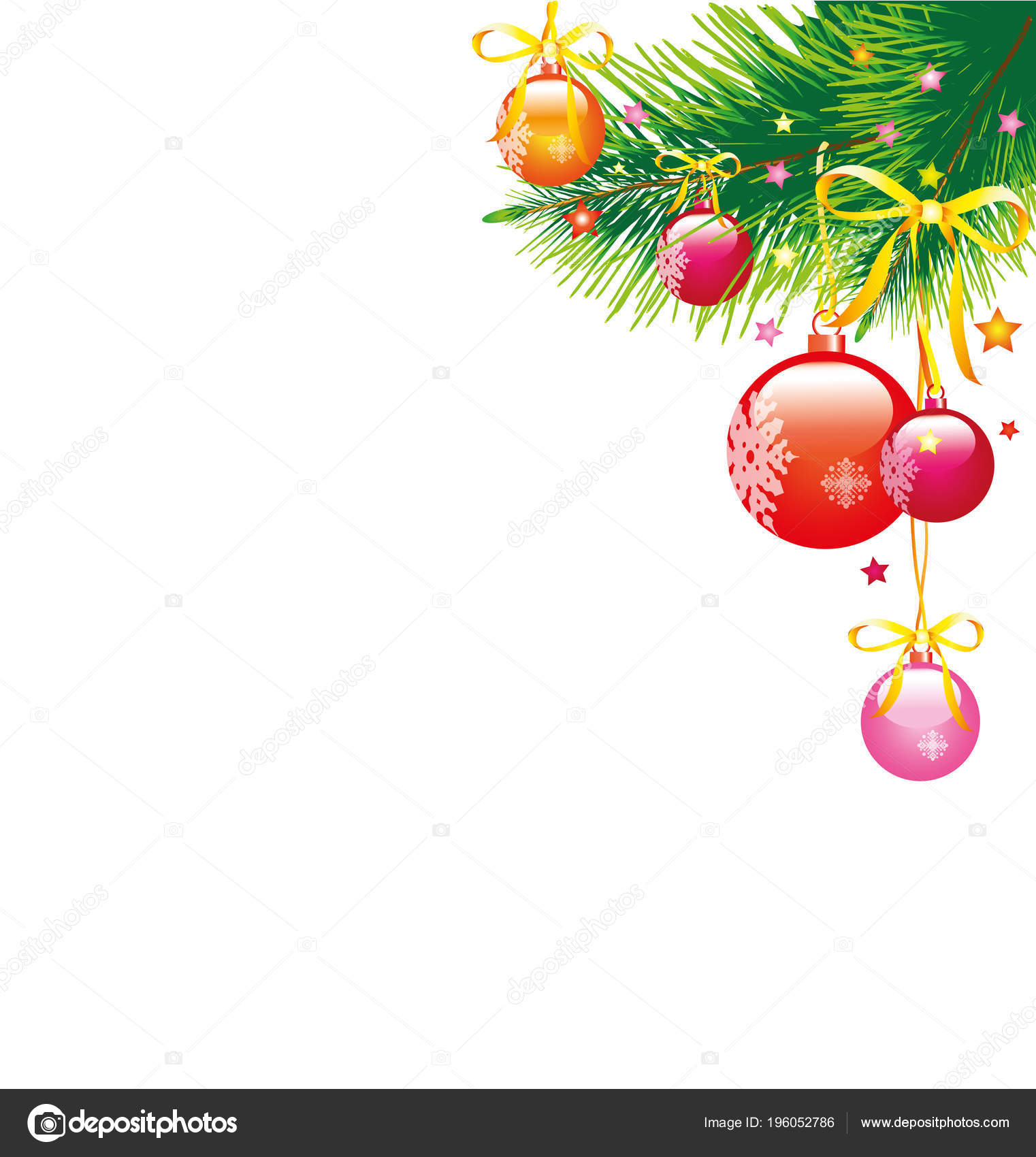 Christmas Garland Balls Bows Isolated White Background Vector