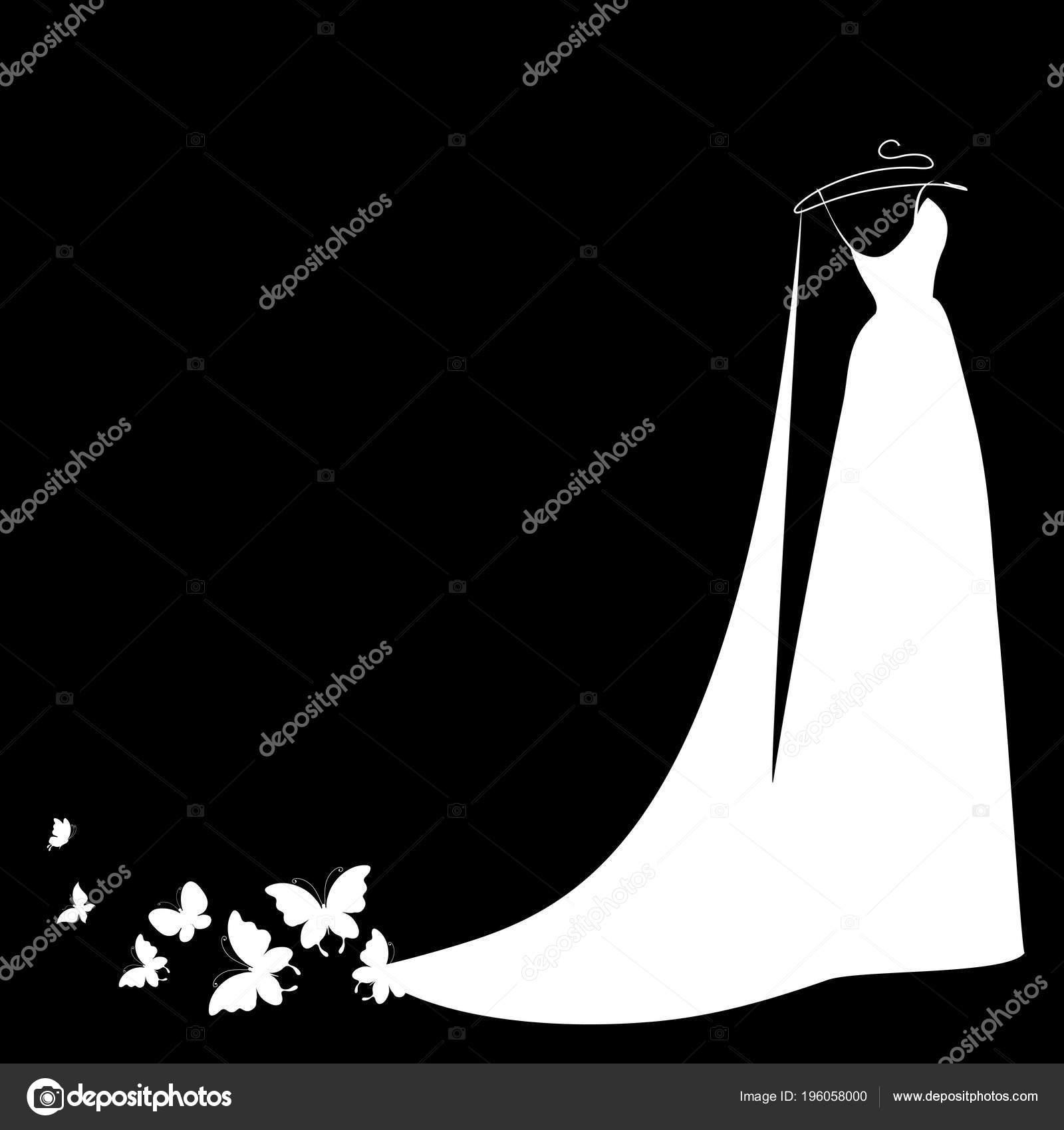 Biała Suknia ślubna Motyle Czarnym Tle Wektor Ilustracja Grafika
