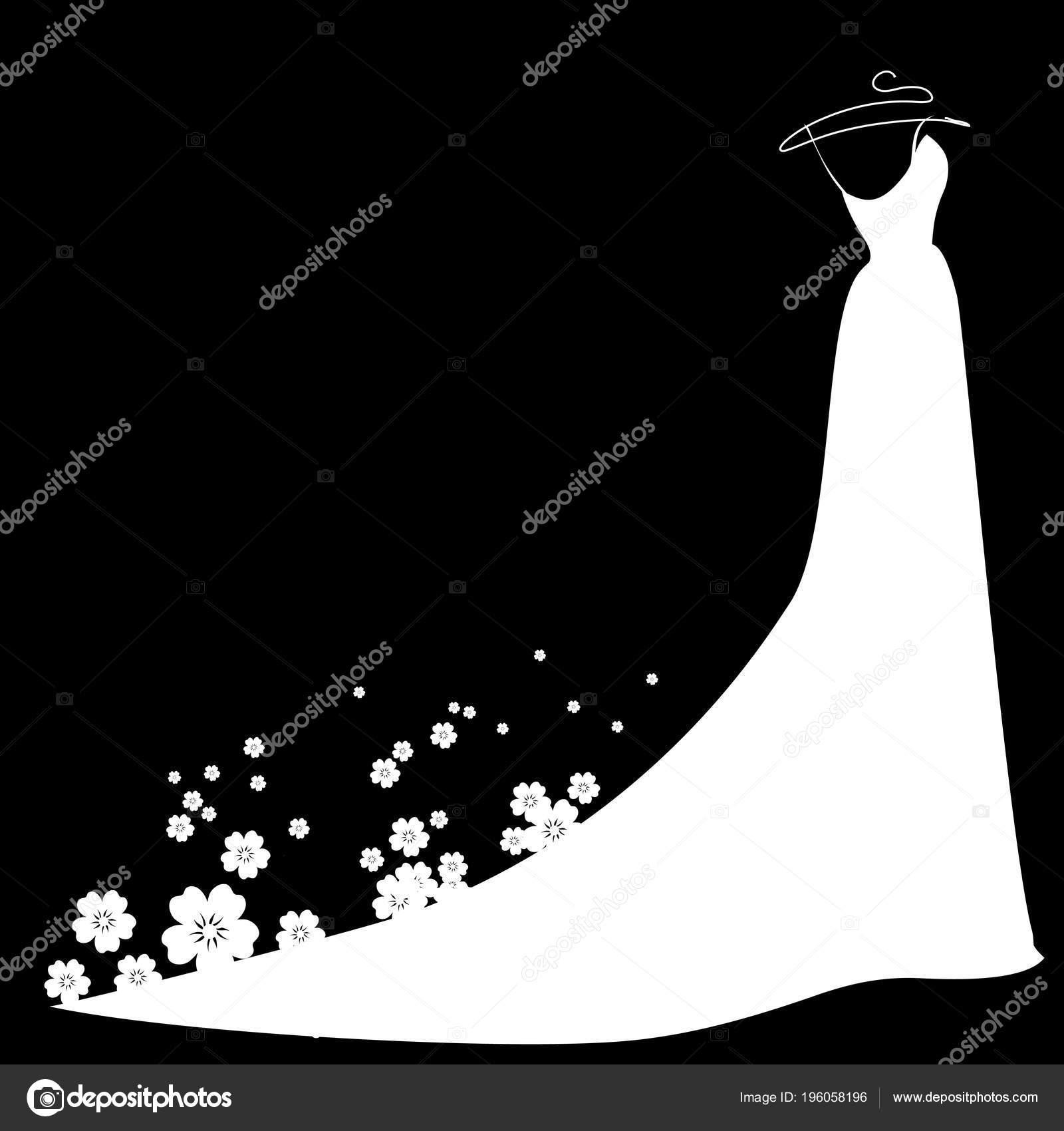 Sfondo Sposa Bianco Abito Sposa Con Fiori Sfondo Nero Vettore