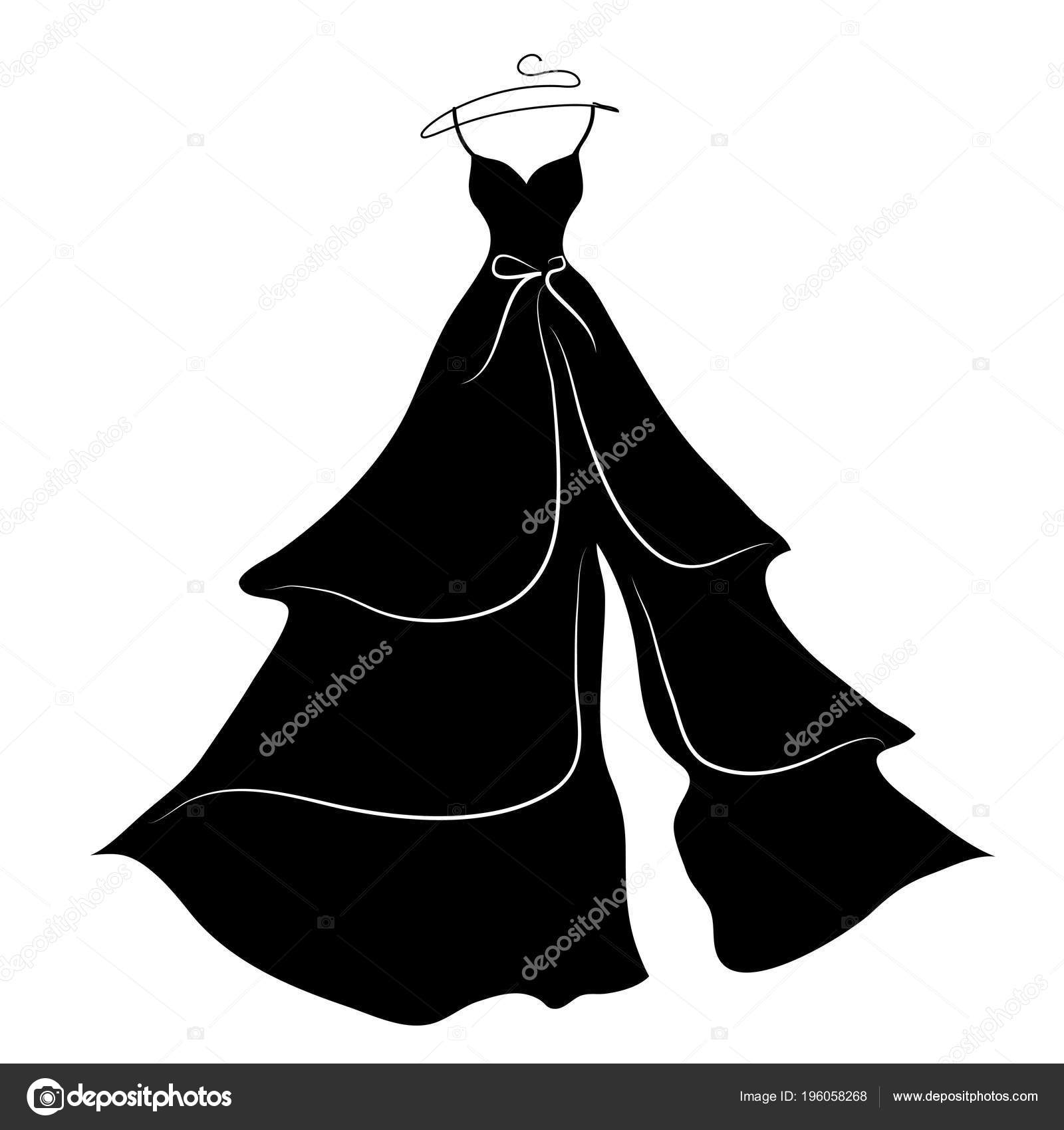 Dark Silhouette Wedding Dress Isolated White Background Vector ...