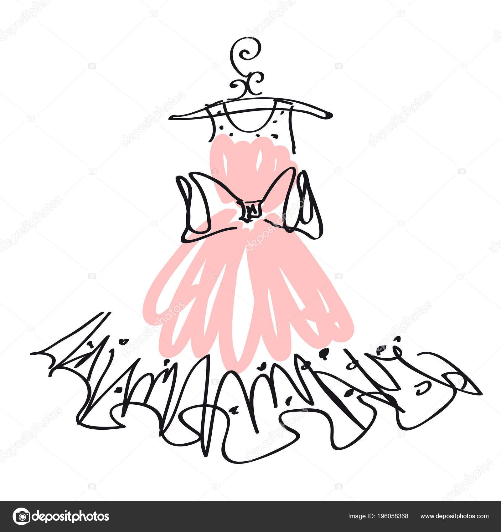 Vestido Novia Rosa Aislado Sobre Fondo Blanco Vector Ilustración ...