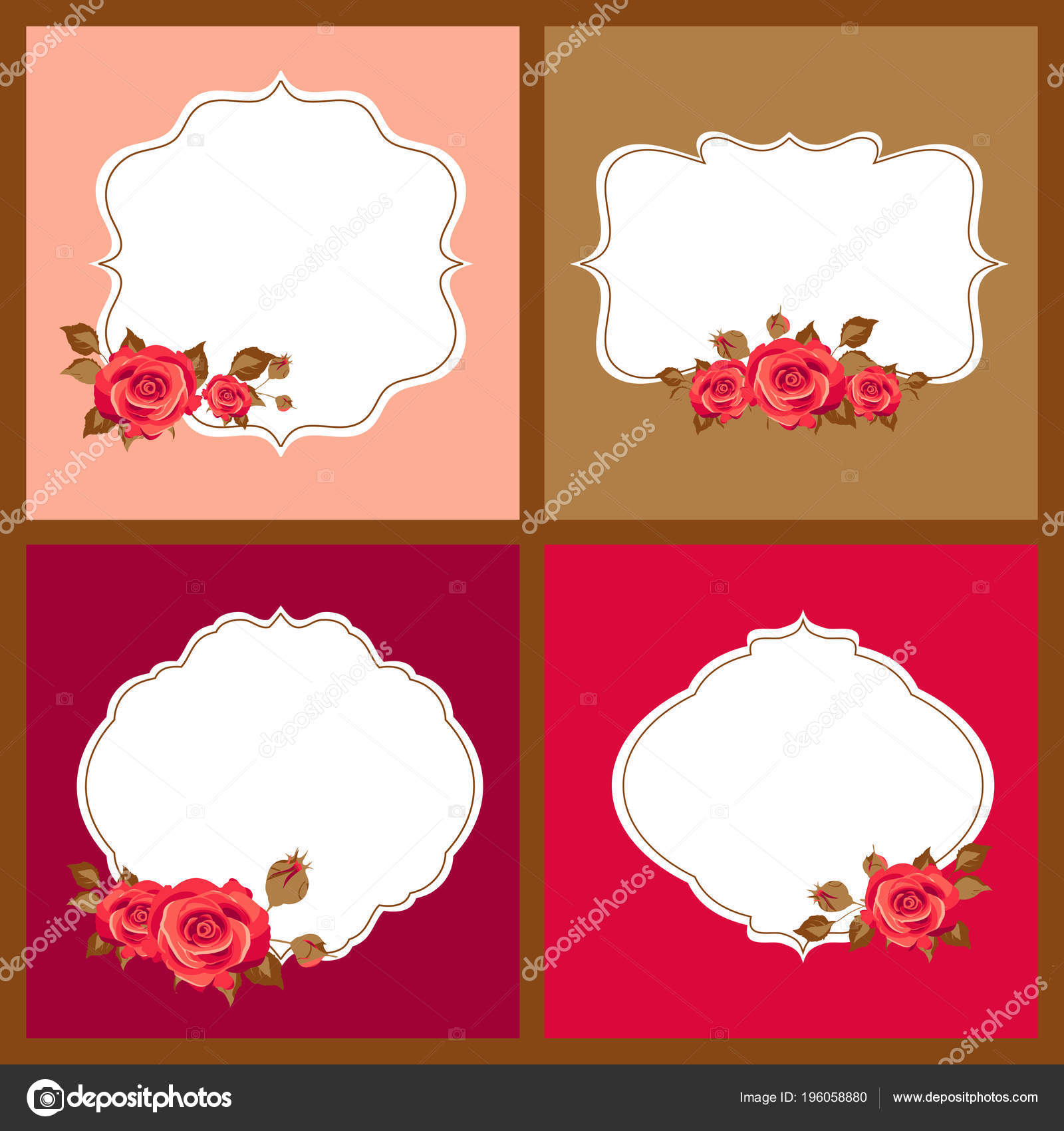 Collection Greeting Cards Rose Flowers Empty Frames Vector