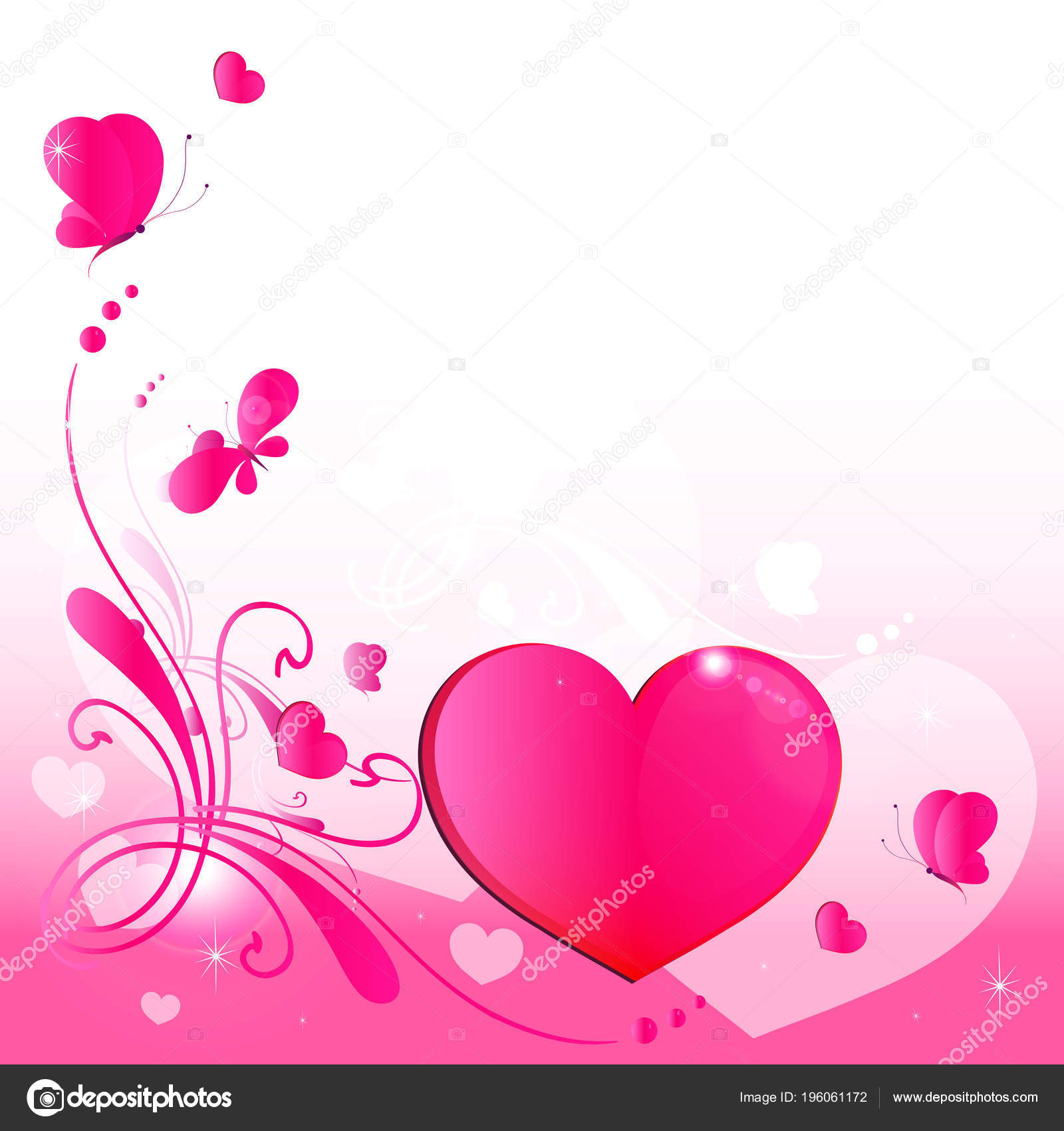 Wedding Card Design Pink Hearts Butterflies Isolated White