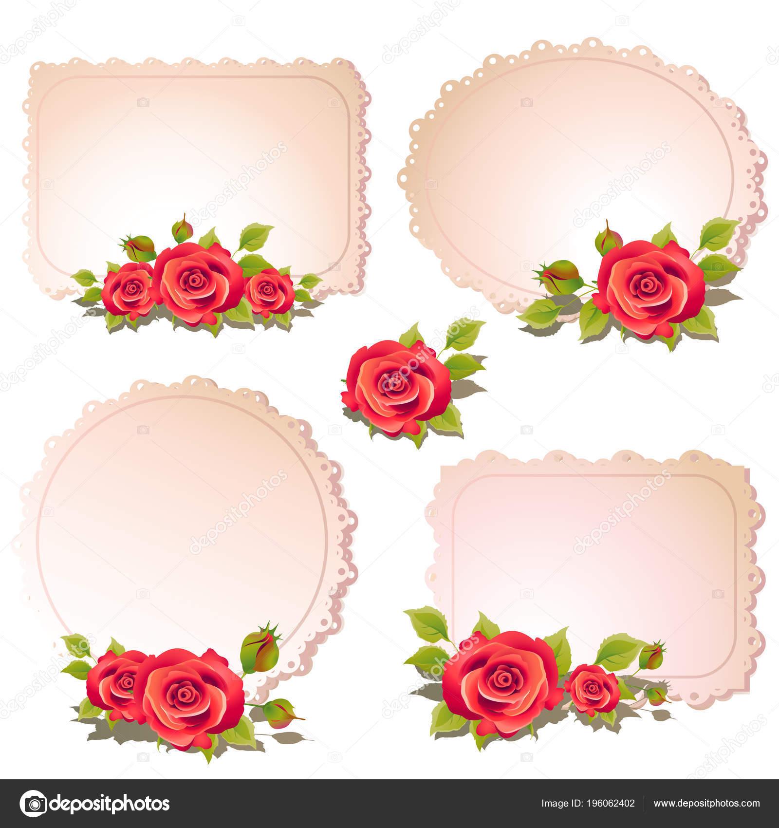 Hermosas Flores Color Rosa Con Marcos Vacíos Aislados Fondo Blanco ...