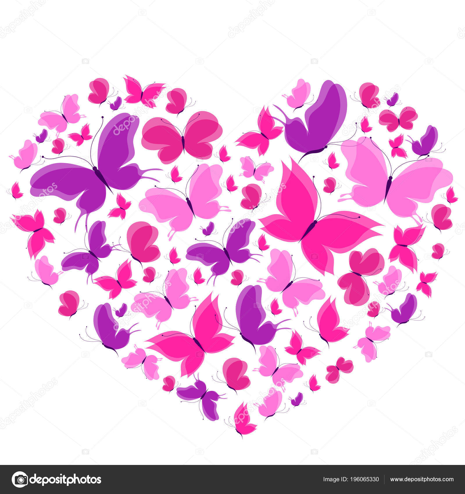 Beautiful Butterflies Heart Shape Isolated White Background
