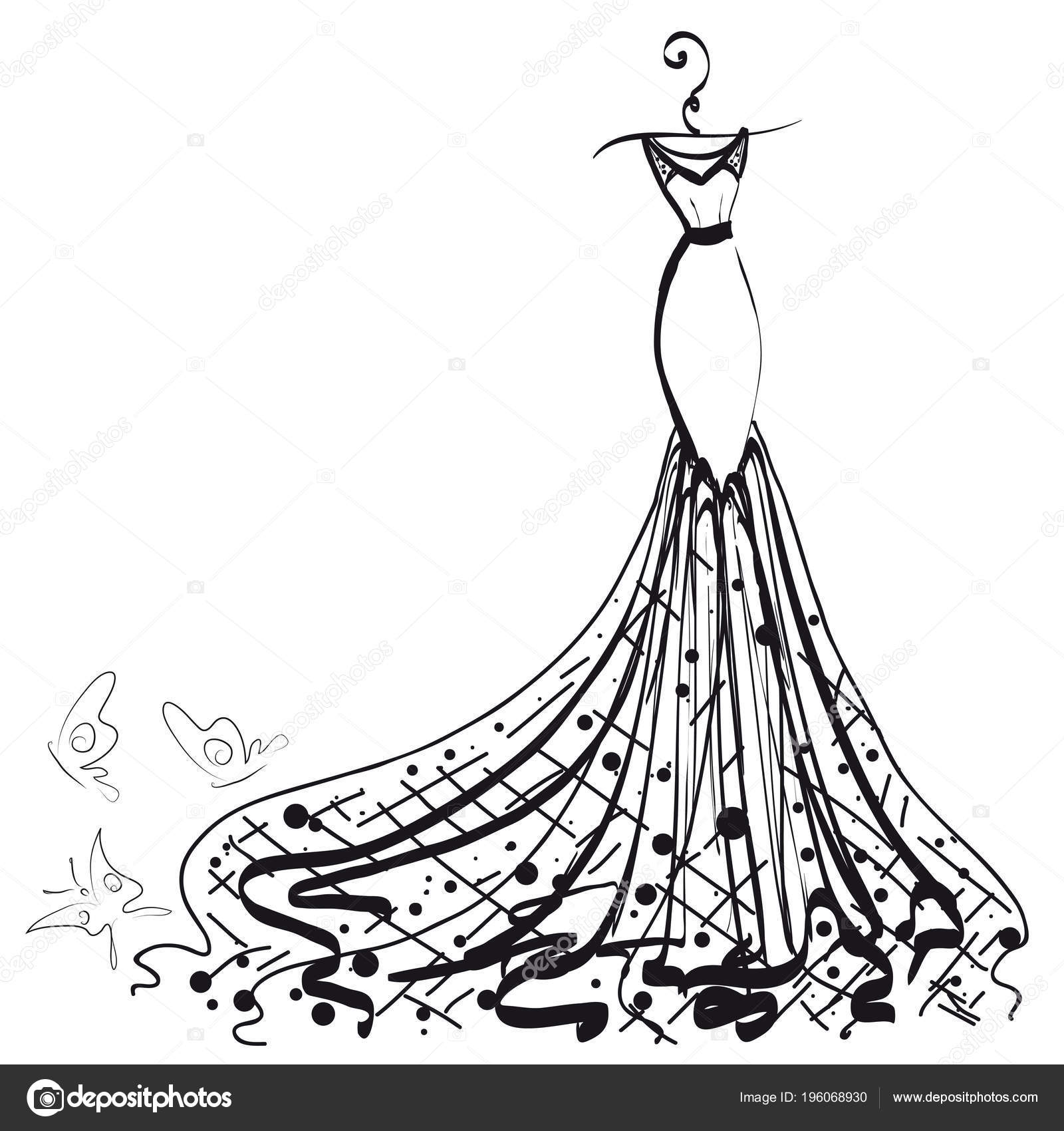Sketch Wedding Dress Butterflies Isolated White Background Vector ...