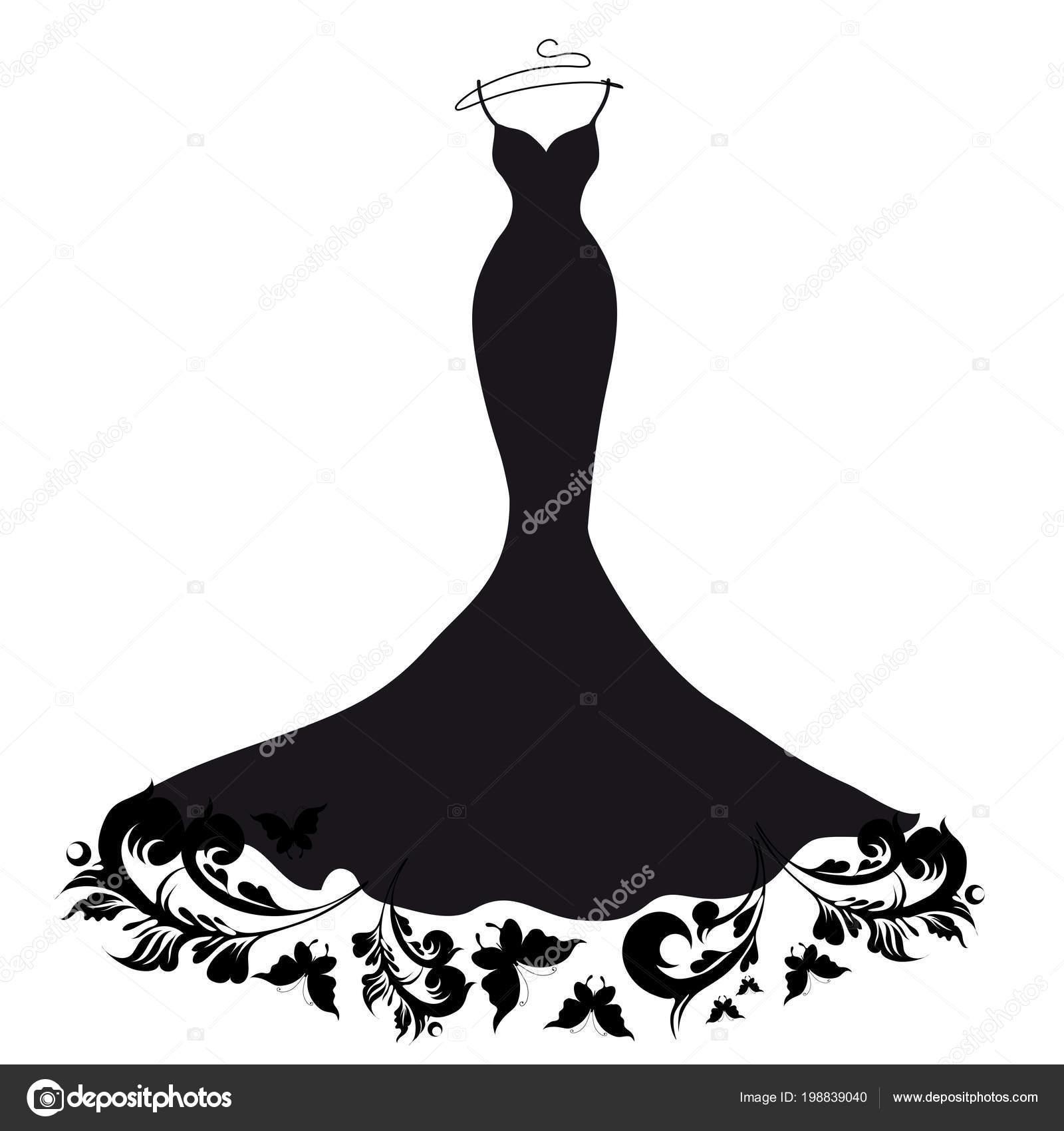 Negro Silueta Vestido Novia Con Mariposas Aisladas Sobre