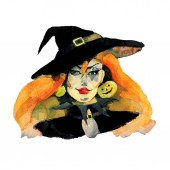 Fotografie halloween holiday, witch, watercolor illustration