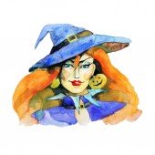 Fotografie svátek Halloween, čarodějnice, akvarel, ilustrace