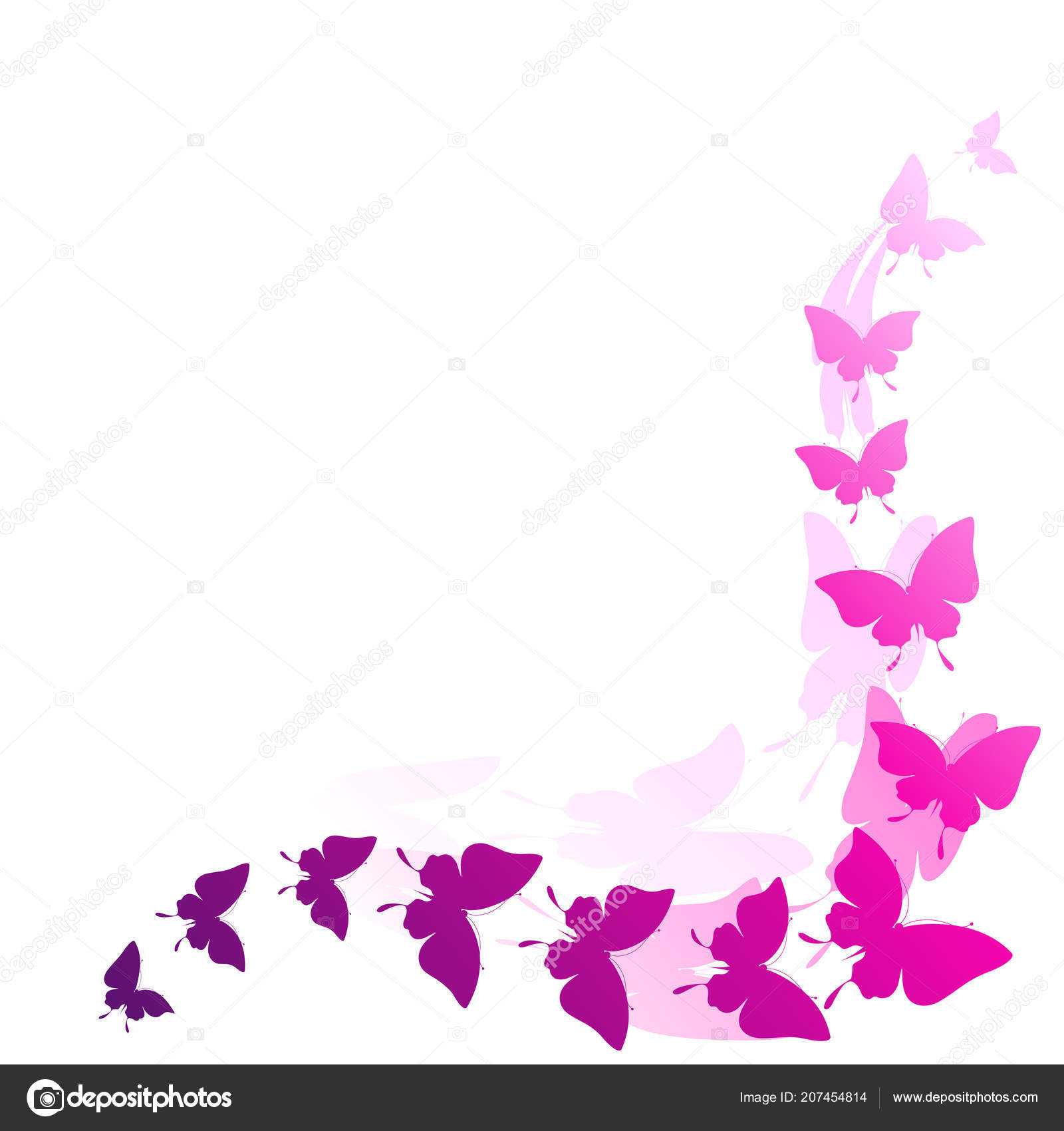 Pink Butterflies Design Isolated White Background Stock Vector