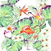 beautiful pink flamingos and exotic flowers, palm leaves on white background