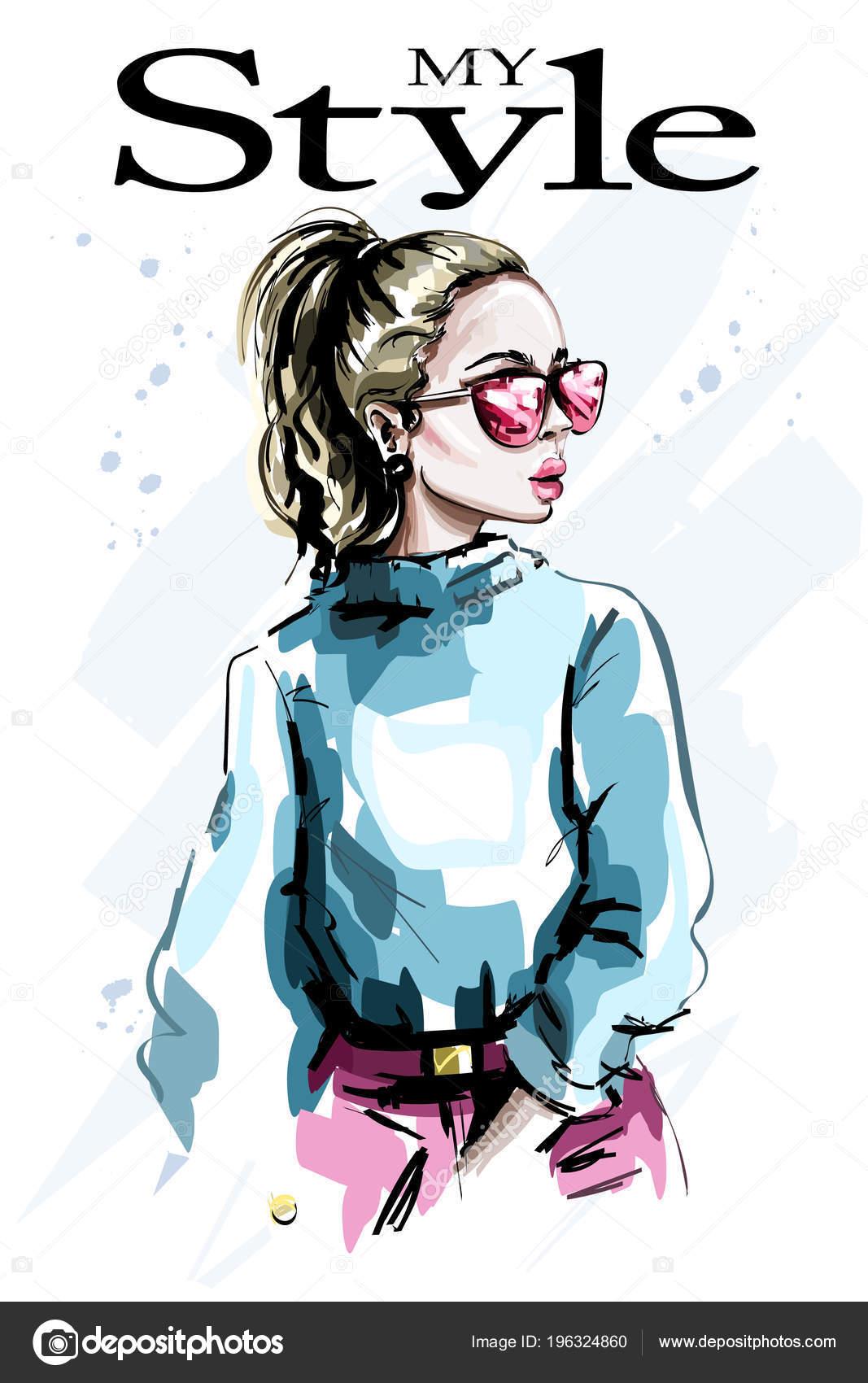 f0f297a6d Mão Desenhada Bonita Jovem Óculos Sol Olhar Mulher Moda Menina — Vetor de  Stock