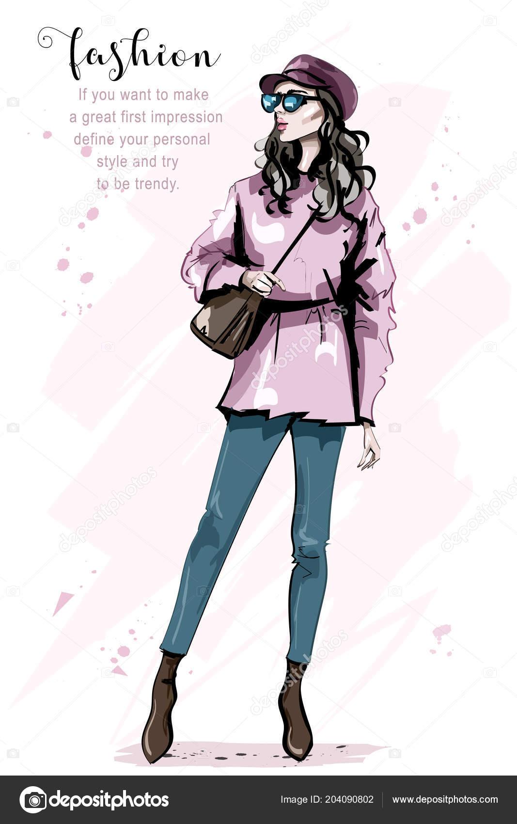 fe86aeb67 Moda Mulher Com Saco Elegante Mulher Jovem Bonita Cap Garota — Vetores de  Stock