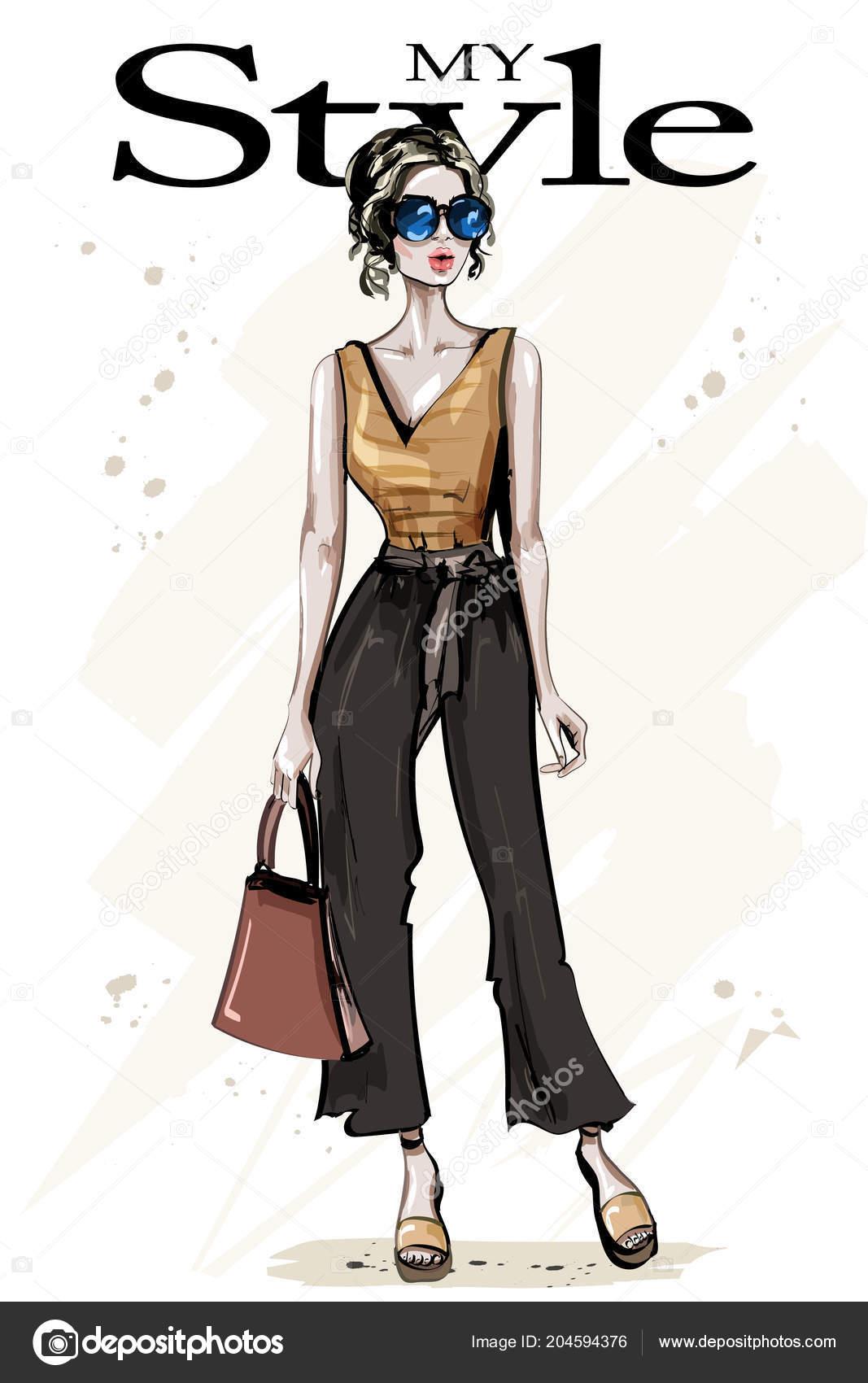 da6d56bfb Mão Desenhada Bonita Jovem Com Saco Moda Mulher Óculos Sol — Vetores de  Stock
