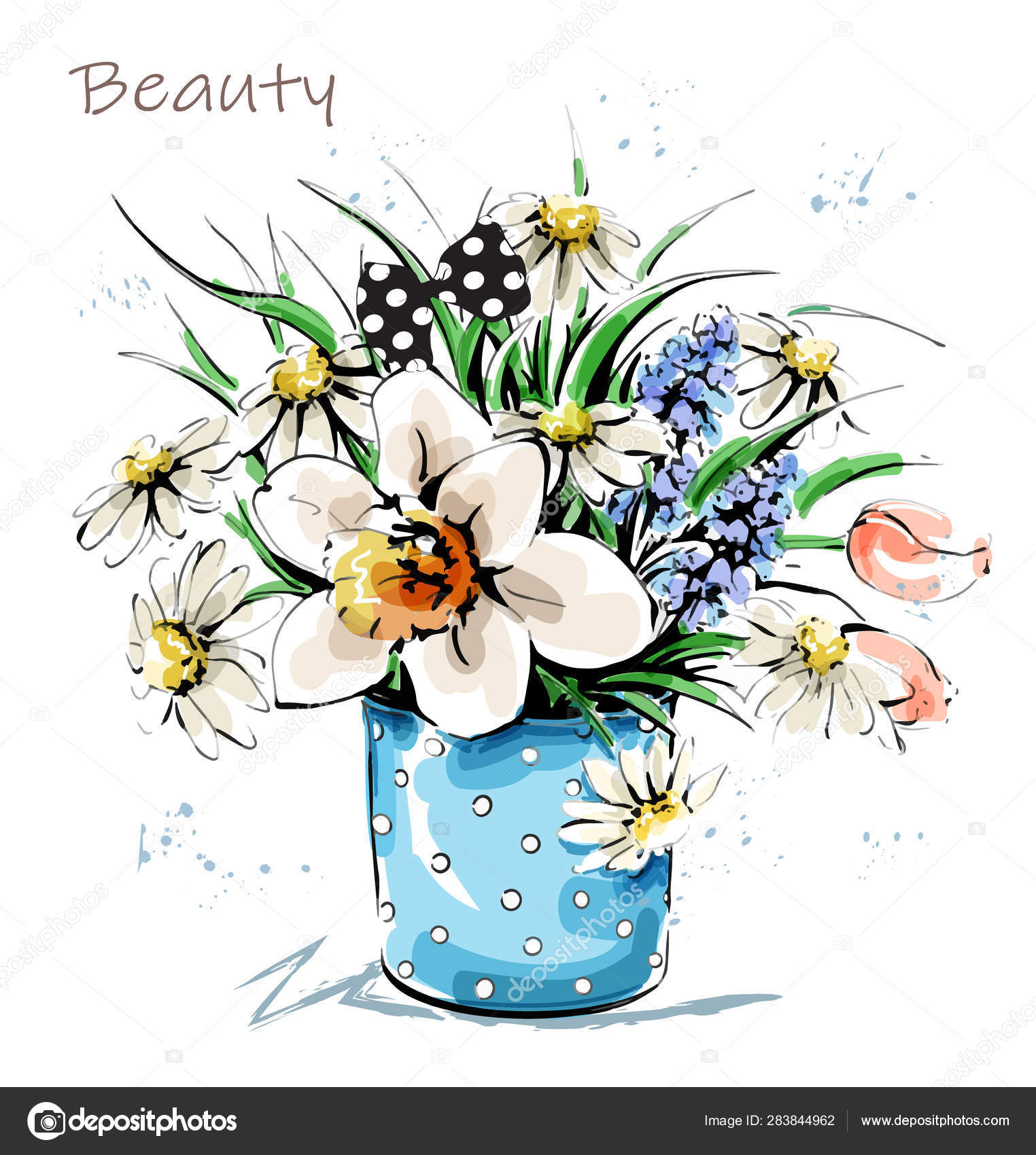 Hand Drawn Beautiful Flowers Vase Cute Flower Bouquet Sketch