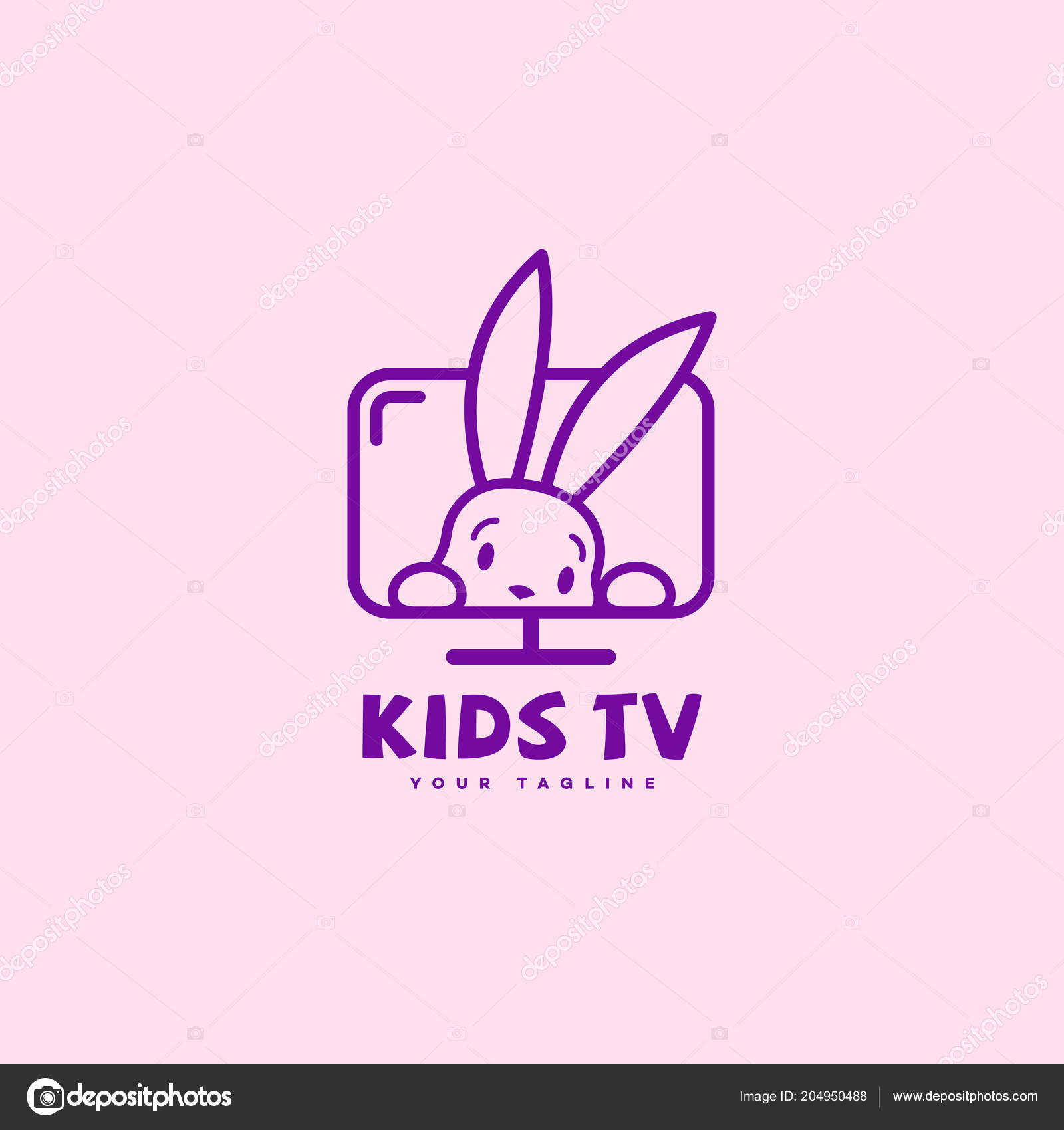 kids logo template design outline style funny bunny vector