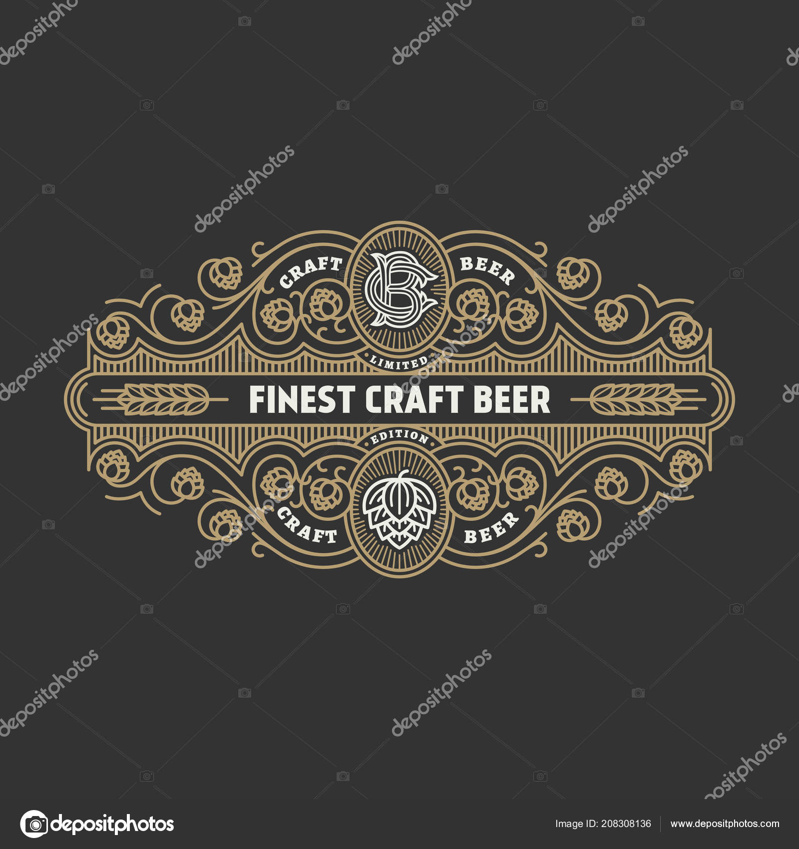 Flourishes Beer Label Design Template Hops Linear Style Vector Illustration Stock