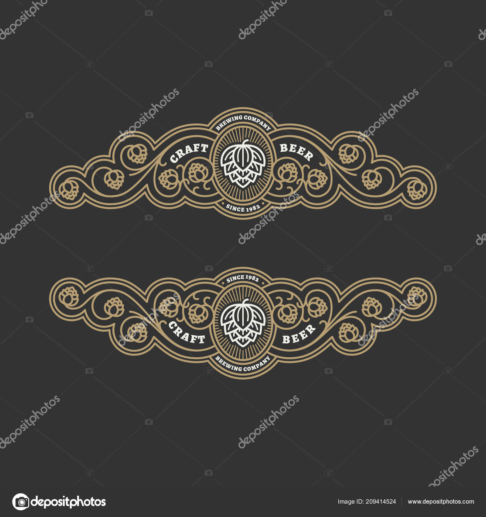 Two Flourishes Beer Label Design Templates Hops Linear Style Vector ...