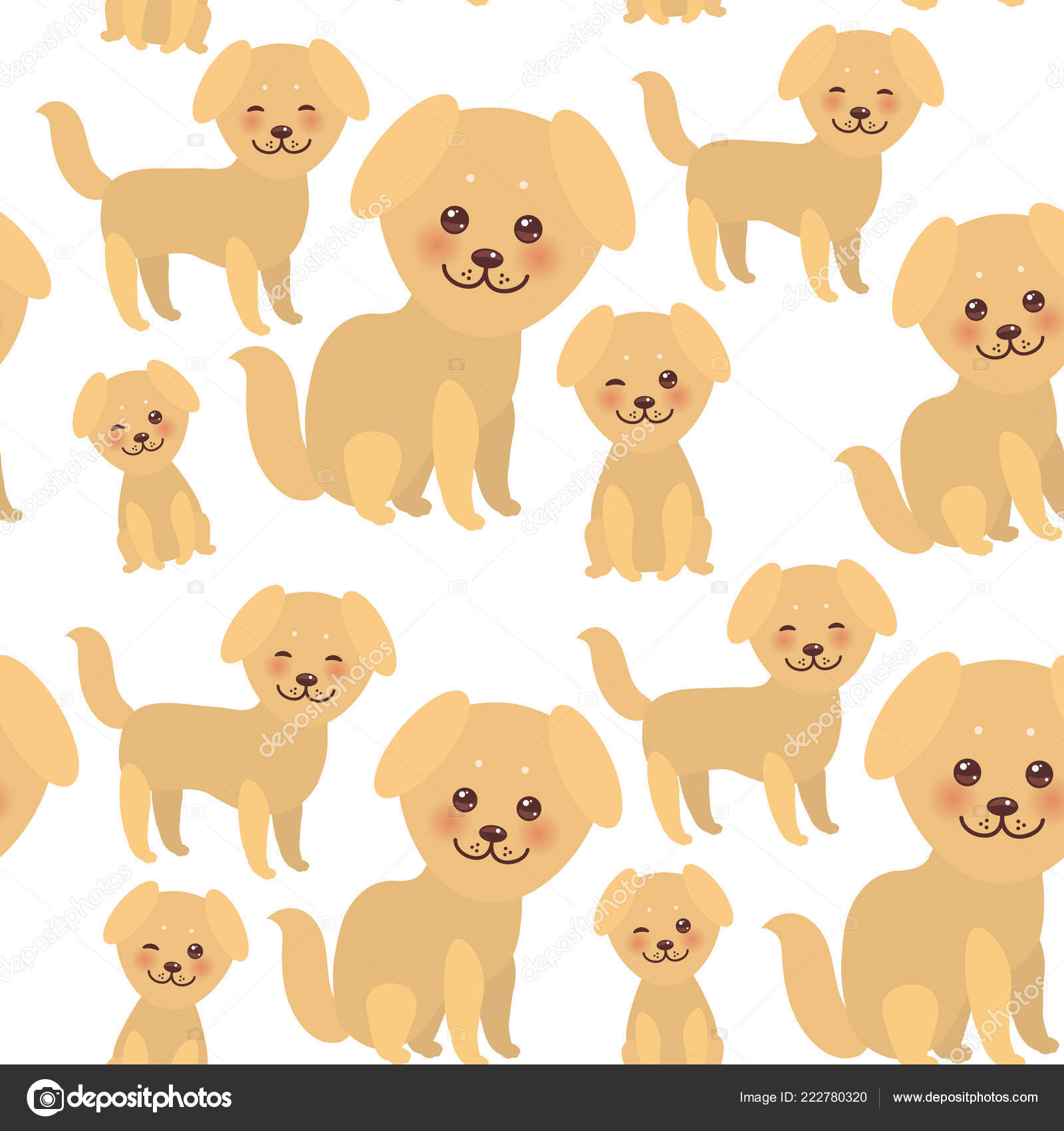 Padrão Sem Emenda Kawaii Engraçado Dourado Bege Cachorro