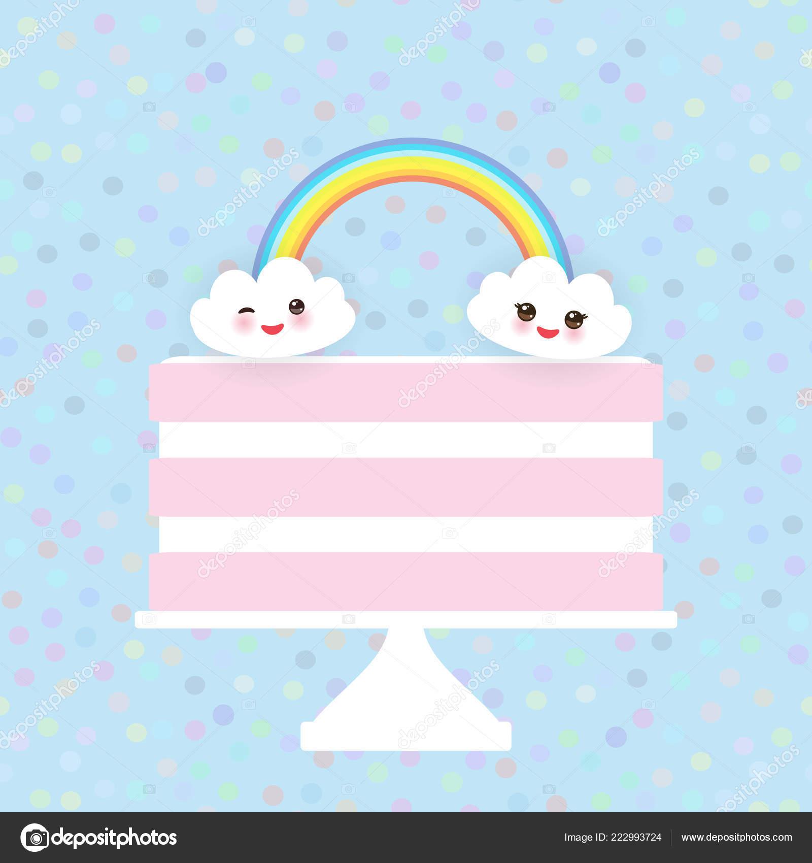 Bolo Rosa Kawaii Feliz Aniversário Doce Morango Creme Branco Nuvens ... c4bc92ba5082b