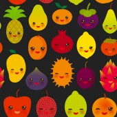 seamless pattern cute kawaii fruit Pear Mangosteen tangerine pineapple papaya persimmon pomegranate lime apricot plum dragon fruit figs mango peach lemon lychee apple kiwano black background. Vector illustration