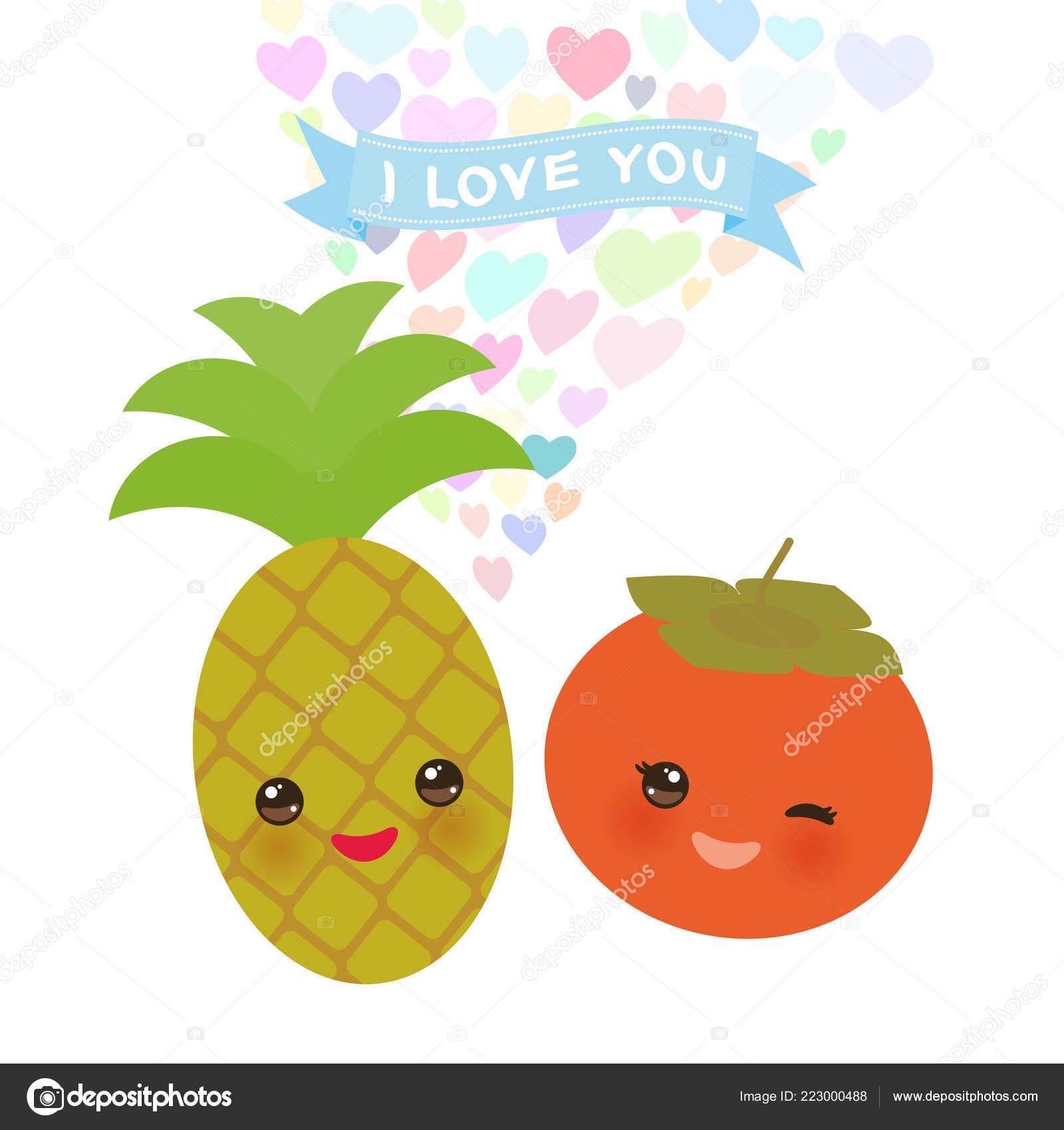 Amo Cartolina Con Ananas Kawaii Cachi Con Guance Rosa Occhi