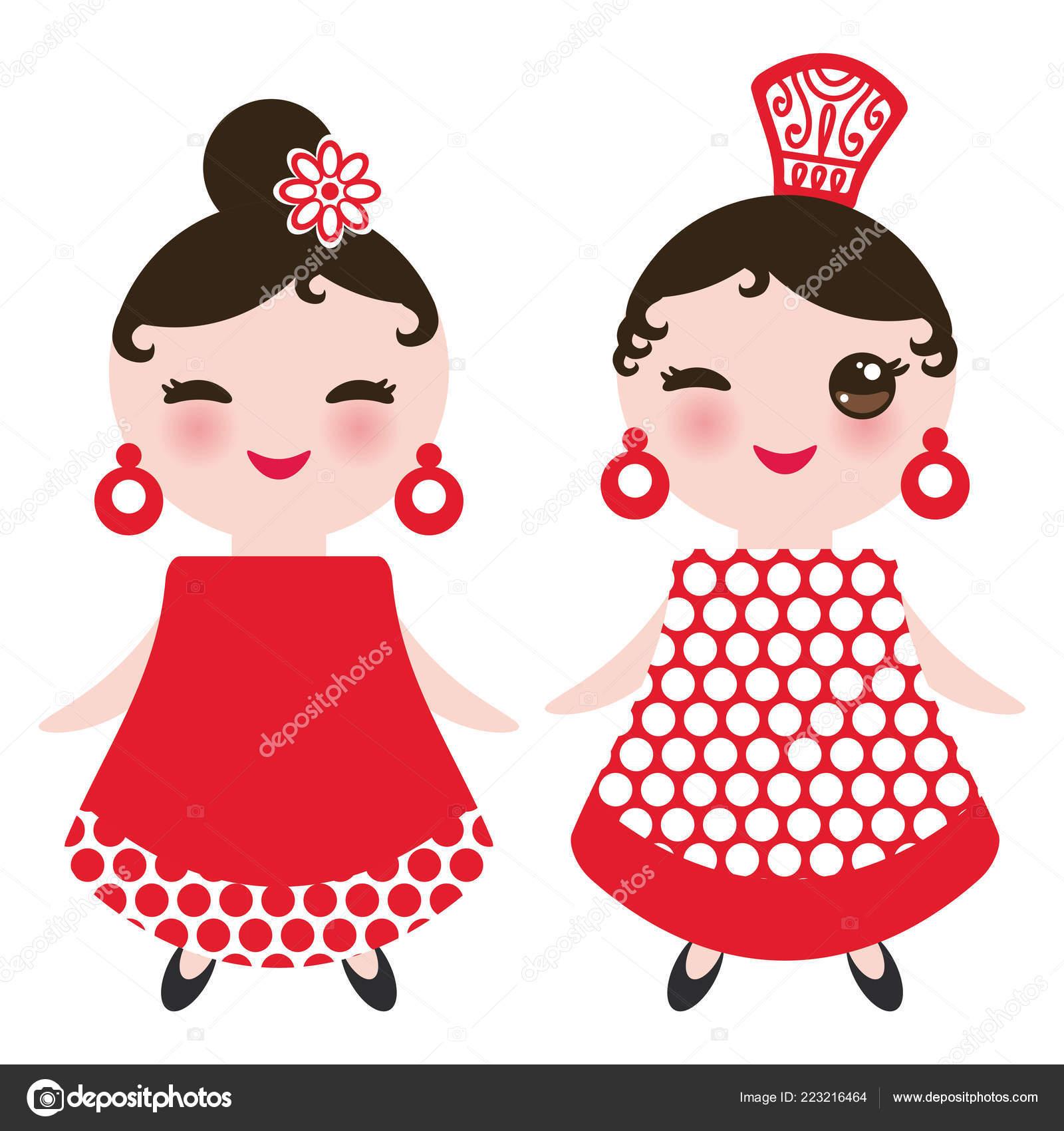 Bailarina Flamenco Española Mujer Kawaii Lindo Rostro Con Mejillas