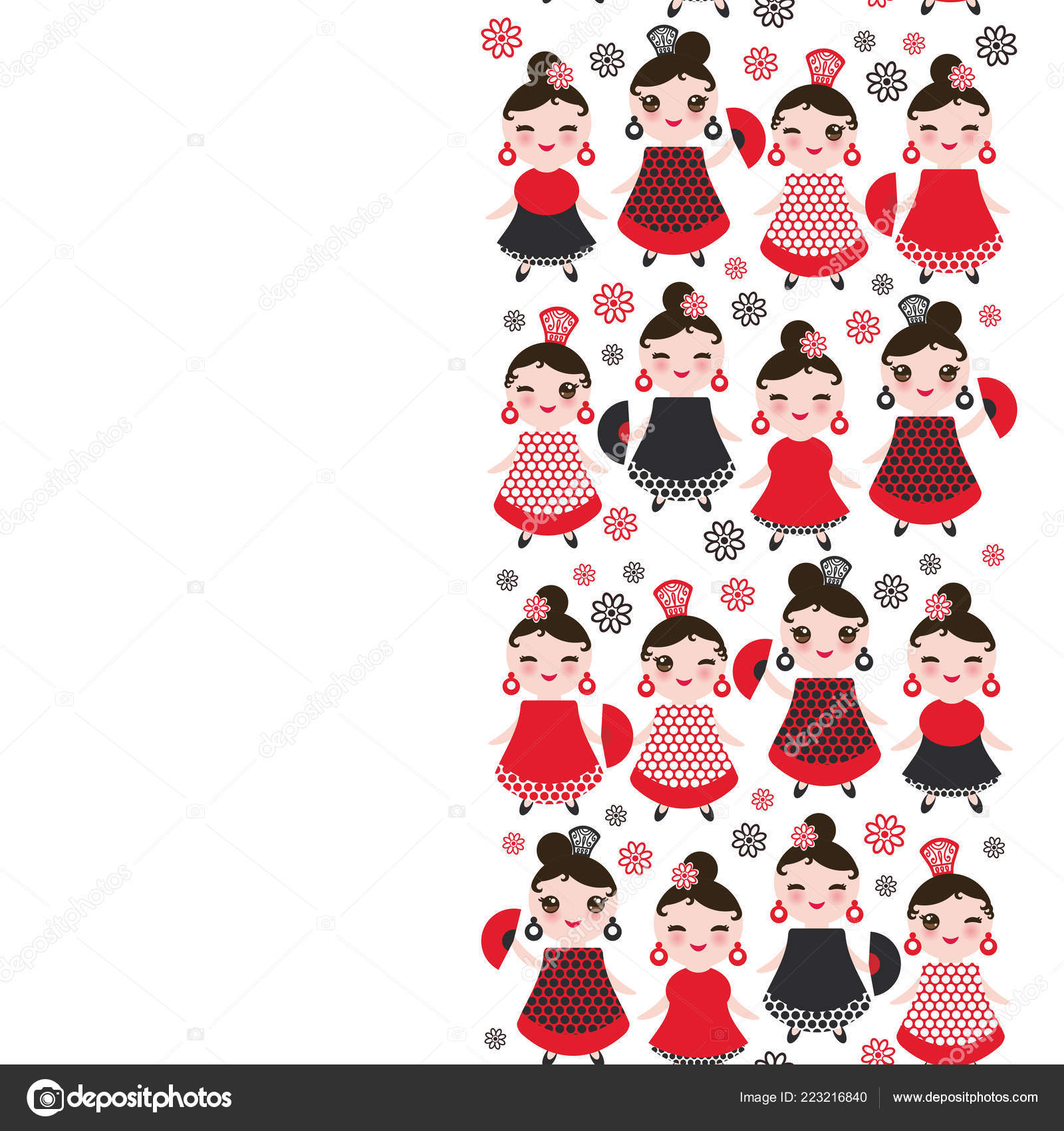 6f3101005704 Spanish Woman flamenco dancer. Kawaii cute face with pink cheeks and  winking eyes. Gipsy girl, red black dress, polka dot fabric, on white  background banner ...