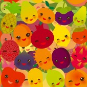 seamless pattern funny kawaii fruit Pear Mangosteen tangerine pineapple papaya persimmon pomegranate lime apricot plum dragon fruit figs mango peach lemon lychee apple kiwano. Vector illustration
