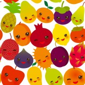 seamless pattern funny kawaii fruit Pear Mangosteen tangerine pineapple papaya persimmon pomegranate lime apricot plum dragon fruit figs mango peach lemon lychee apple kiwano isolated on white. Vector illustration