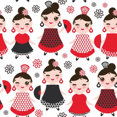 Seamless pattern spanish Woman flamenco dancer. Kawaii cute face with pink cheeks and winking eyes. Gipsy girl, red black white dress, polka dot fabric, Isolated on white background. Vector illustration