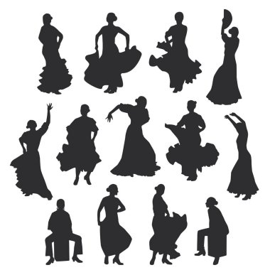 set of women in dress stay in dancing pose. flamenco dancer Spanish regions of Andalusia, Extremadura and Murcia, Cajon percussion instrument. black silhouette white background brush sketch. Vector illustration