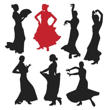 set of women in dress stay in dancing pose. flamenco dancer Spanish regions of Andalusia, Extremadura and Murcia. black silhouette white background brush sketch. Vector illustration