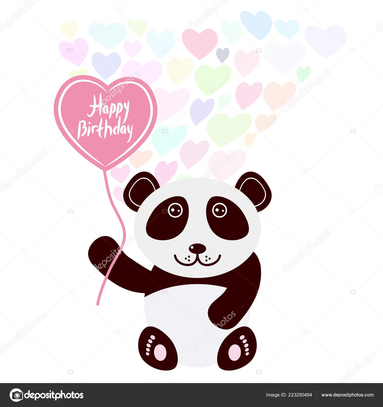 Feliz Cumpleaños Tarjeta Diseño Kawaii Cute Panda Con Globo Forma — Vector  de stock 6a55db22512