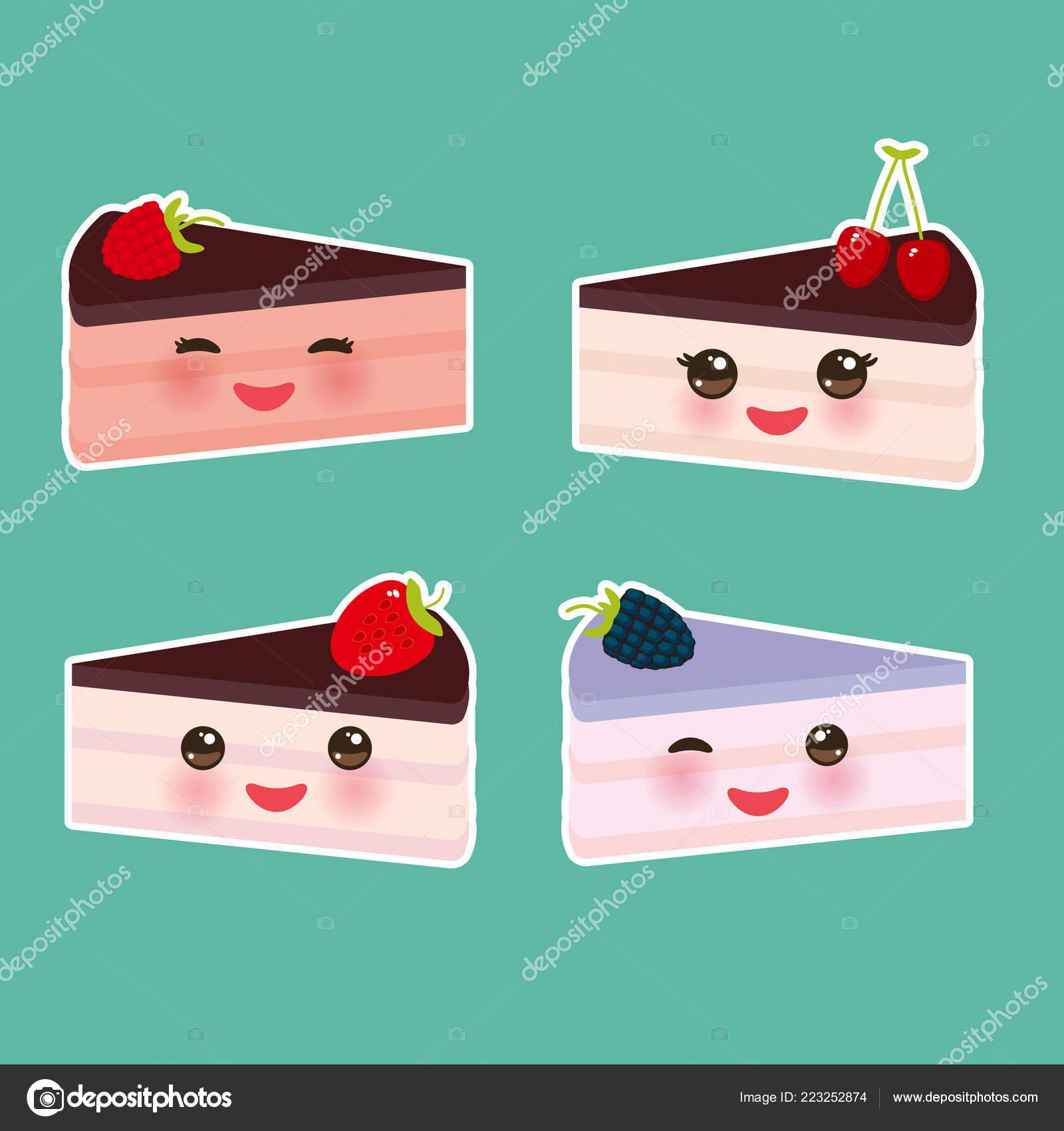 Kawaii Cute Fresca Fresa Cereza Frambuesa Zarzamora Pastel Juego