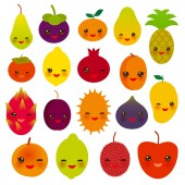 set of cute funny kawaii fruit Pear Mangosteen tangerine pineapple papaya persimmon pomegranate lime apricot plum dragon fruit figs mango peach lemon lychee apple kiwanon white background. Vector illustration
