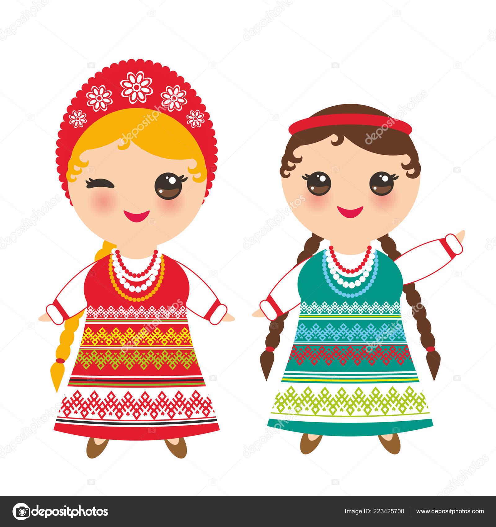 Slovanská Dívka Zelené Červené Letní Šaty Bílé Tričko Výšivkou Vlasy ... 0f17c77e9b