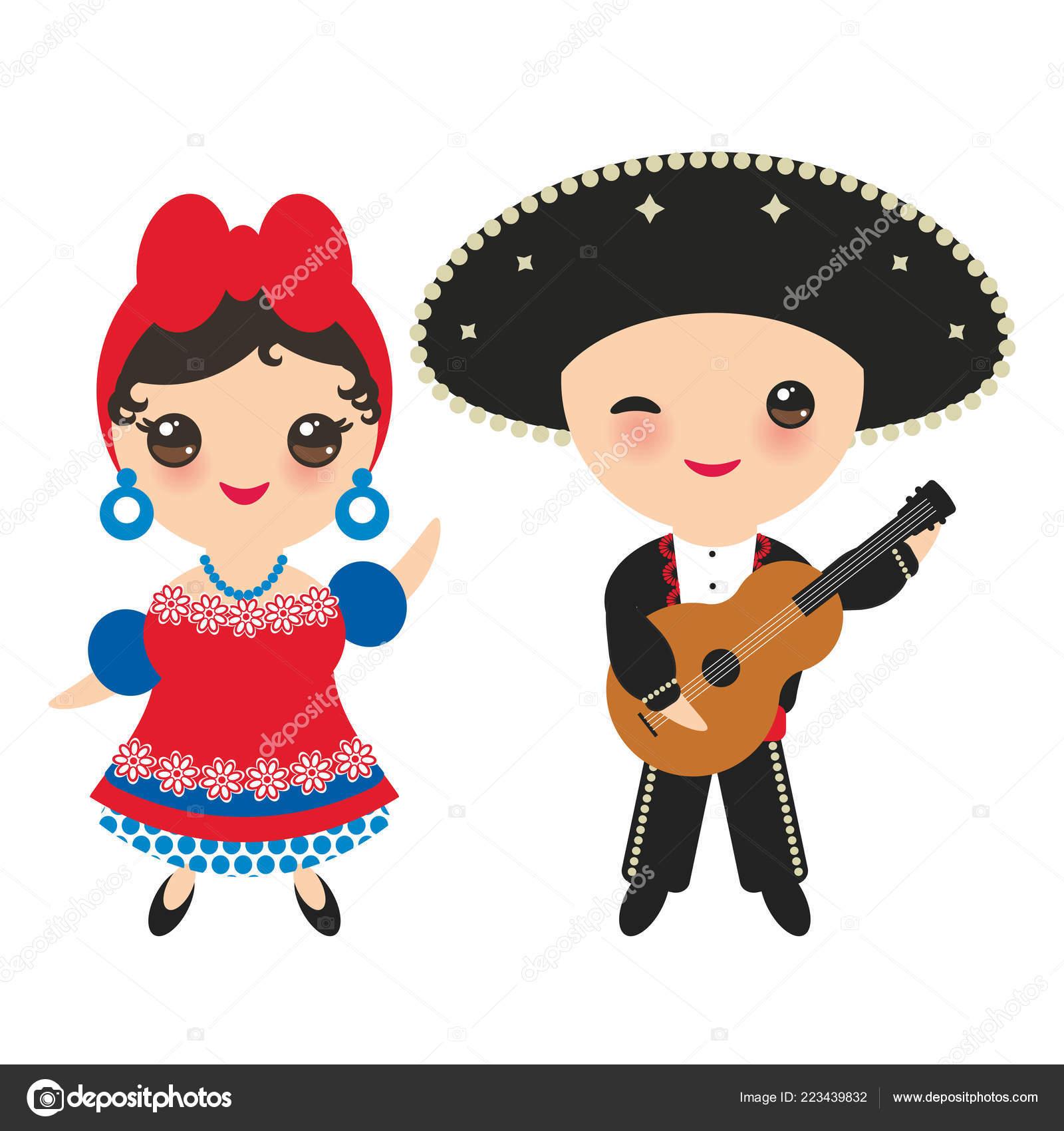 Los cubanos niño y niña en traje nacional y sombrero. Dibujos animados de  los niños en traje tradicional de Cuba a857680962f