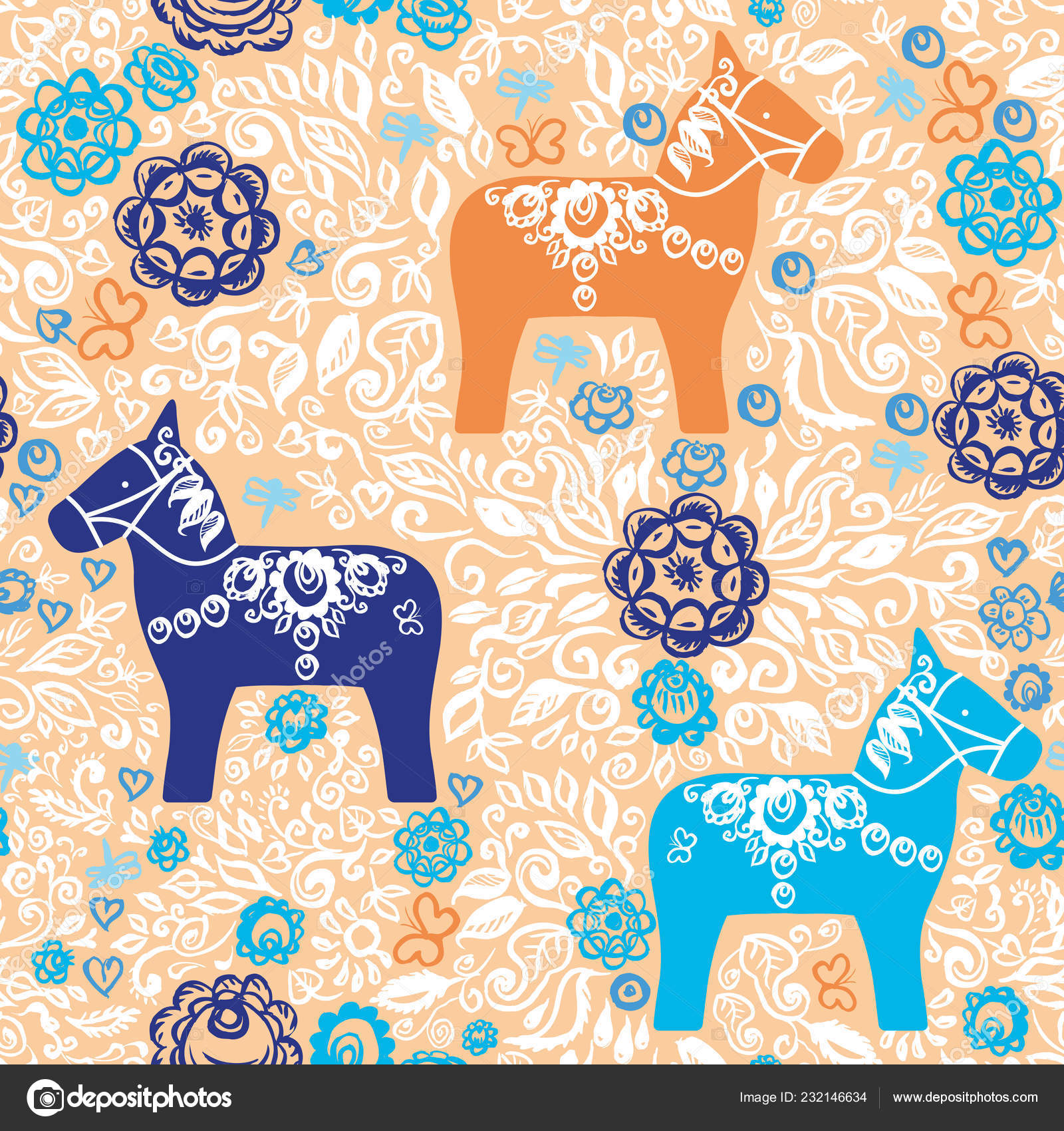 Seamless Pattern Dalecarlian Dala Horse Traditional Carved Painted
