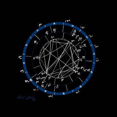 Horoscope natal chart, astrological celestial map, cosmogram, vitasphere, radix. Blue white black color. Hand drawn calligraphy. Vector
