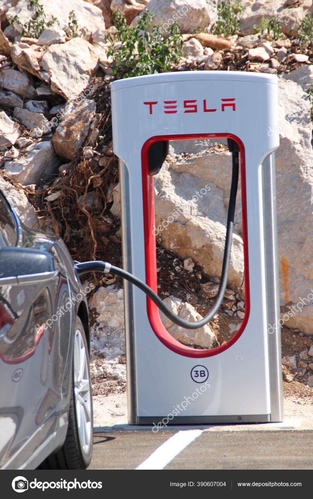 Vrgorac Croatia 2020 Tesla Electric Car Charging Station ...