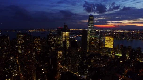 Aerial of Lower Manhattan Financial District of NY at Dusk 2