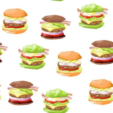 Vector seamless pattern with keto lchf paleo diet burgers