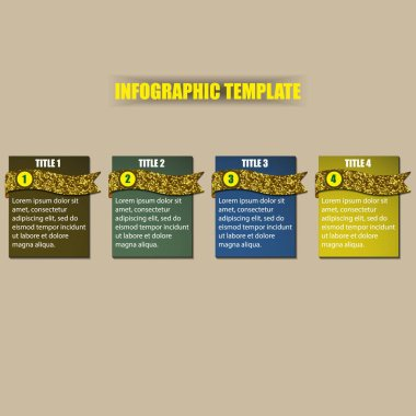 Infographic template with rectangles and ribbons icon