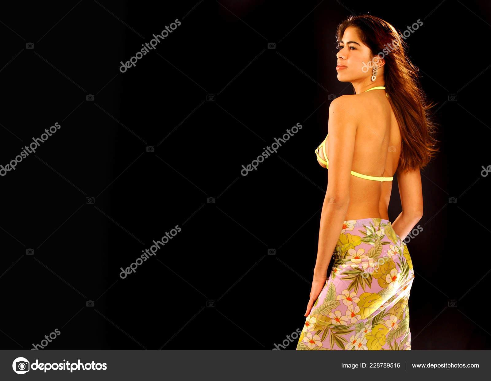 efe81cb8253 Bikini Clad Beautiful Brazilian Brunette Black Desktop Wallpaper– stock  image