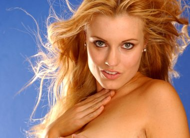 Stunning beautiful blonde haired woman - copy space