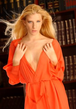 sexy blonde in robe