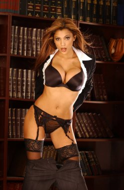 White business shirt black satin bra lace sheer panties - sheer garter belt - sheer thigh high stockings on busty wind blown highlights brunette - tight tone thin waistline  - deep cleavage - provocative come get me pose - underwear of professional